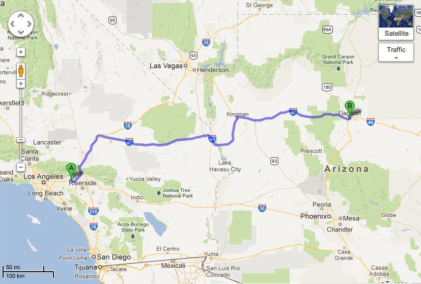 Upland, CA to Flagstaff, AZ